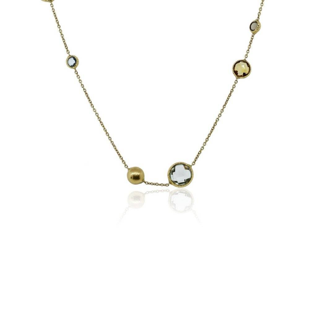 18k Yellow Gold Multi-Color Gemstone Matinee Necklace