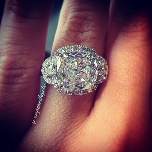 Cushion Cut Halo Engagement Ring with half moons
