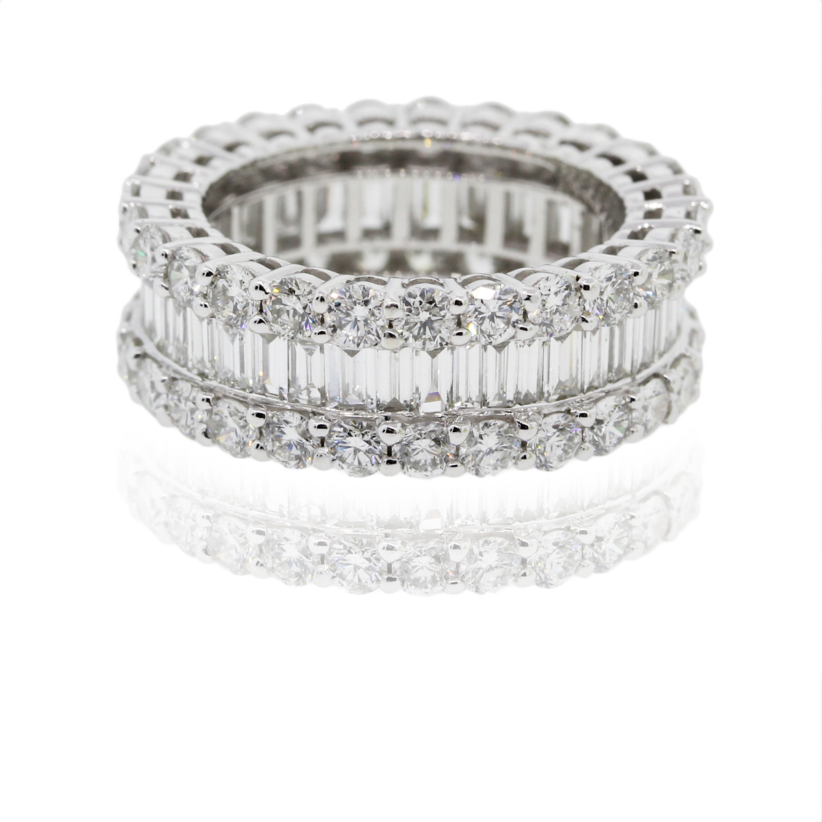18k White Gold 5 70ctw Round Amp Baguette Diamond Eternity