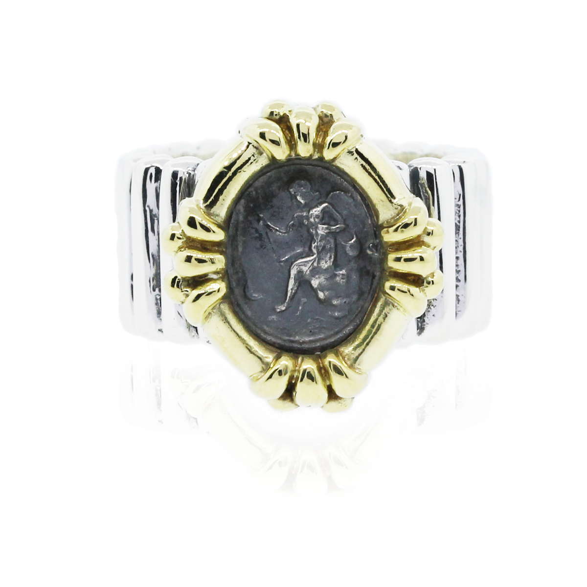 18k yellow gold and sterling silver coin ring raymond
