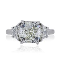 Platinum 4.02ct Cushion Cut Diamond Handmade Engagement Ring