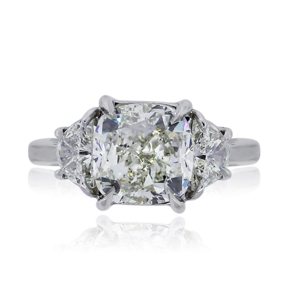 You are viewing this Platinum 4.02ct Cushion Cut Diamond Handmade Engagement Ring!