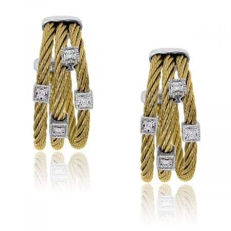 You are viewing these Charriol Classique Two Tone Diamond Cable Hoop Earrings!
