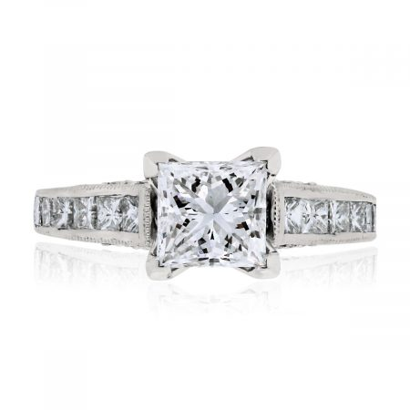 You are viewing this 18k White Gold GIA 1.08ct Princess Cut Shape Diamond Engagement Ring!