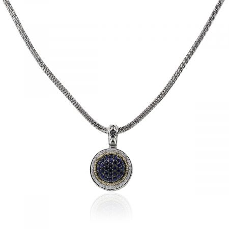 You are viewing this Effy Sterling Silver 18k Yellow Gold Diamond Sapphire Pendant Necklace!