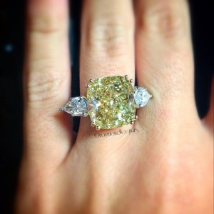 Fancy Yellow Cushion Cut Diamond with White Pear Shaped Diamond Engagement Ring