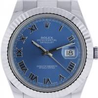 Rolex Datejust II 116334 Blue Roman Dial Stainless Steel Watch