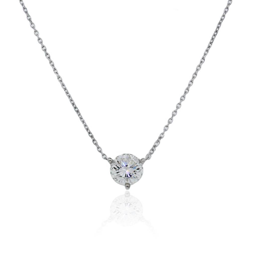 1ct diamond 14k white gold solitaire floating pendant necklace aloadofball Image collections