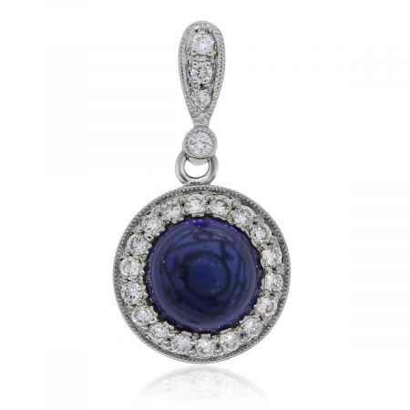 You are viewing this 18k White Gold 5.31ct Cabochon Sapphire Diamond Slide Pendant!