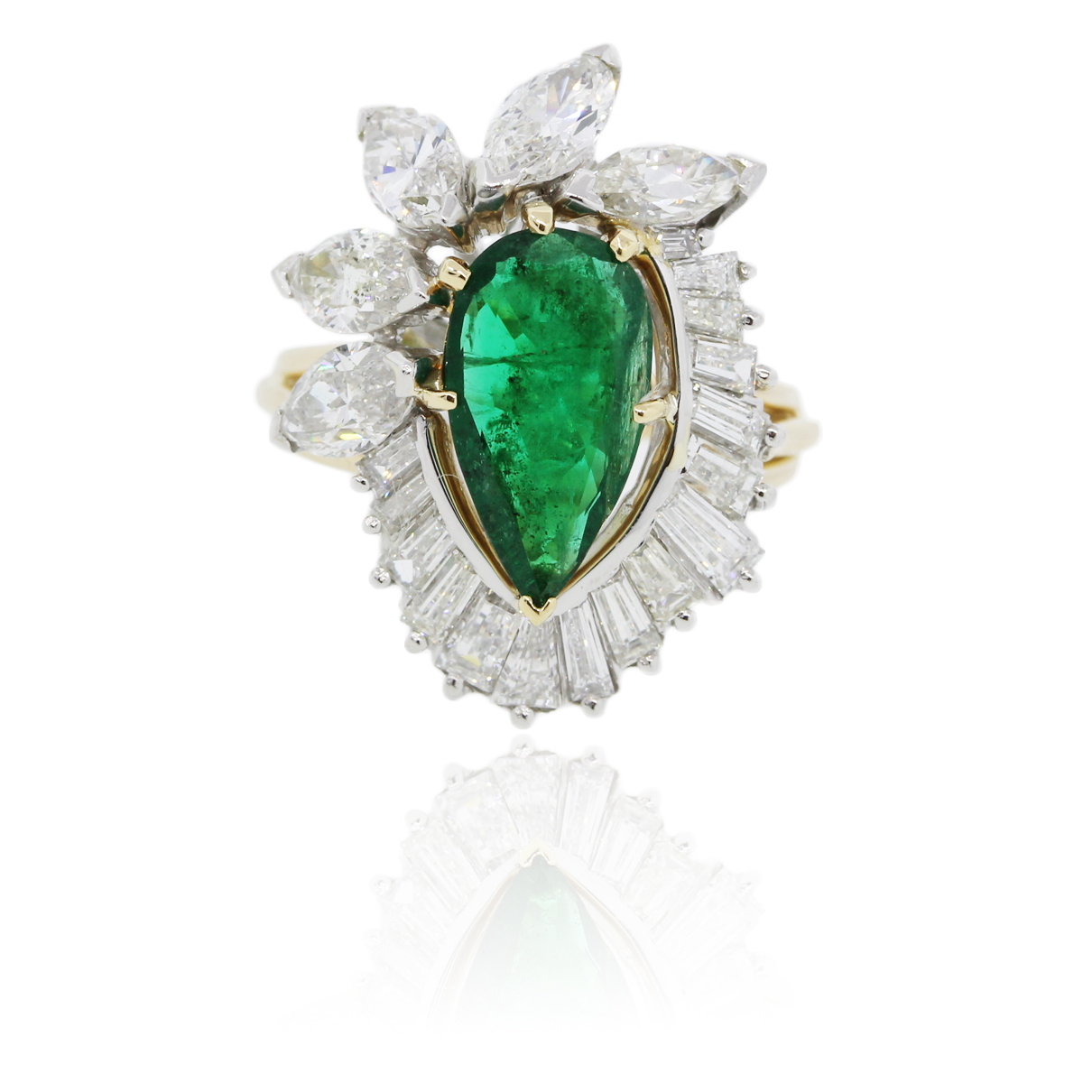platinum 18k yellow gold emerald ring boca raton
