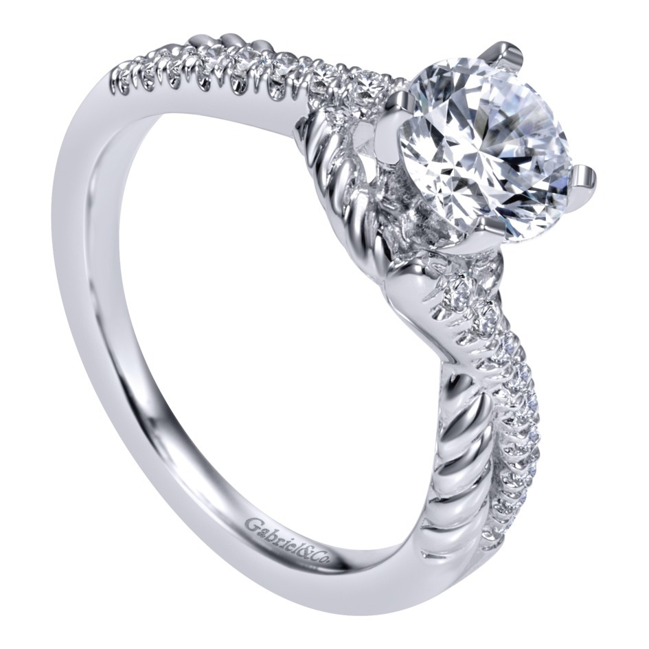 gabriel co engagement rings 14k white gold twisted shank