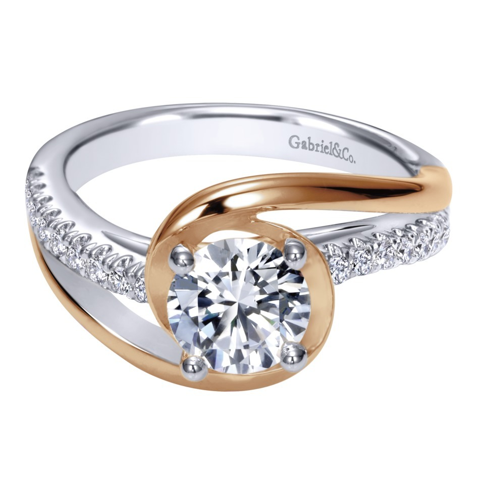 Gabriel co engagement rings two tone diamond bypass 14k for Wedding ring companies