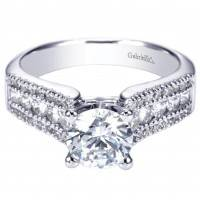 Gabriel NY 14k White Gold Contemporary Three Row Diamond Engagement Ring