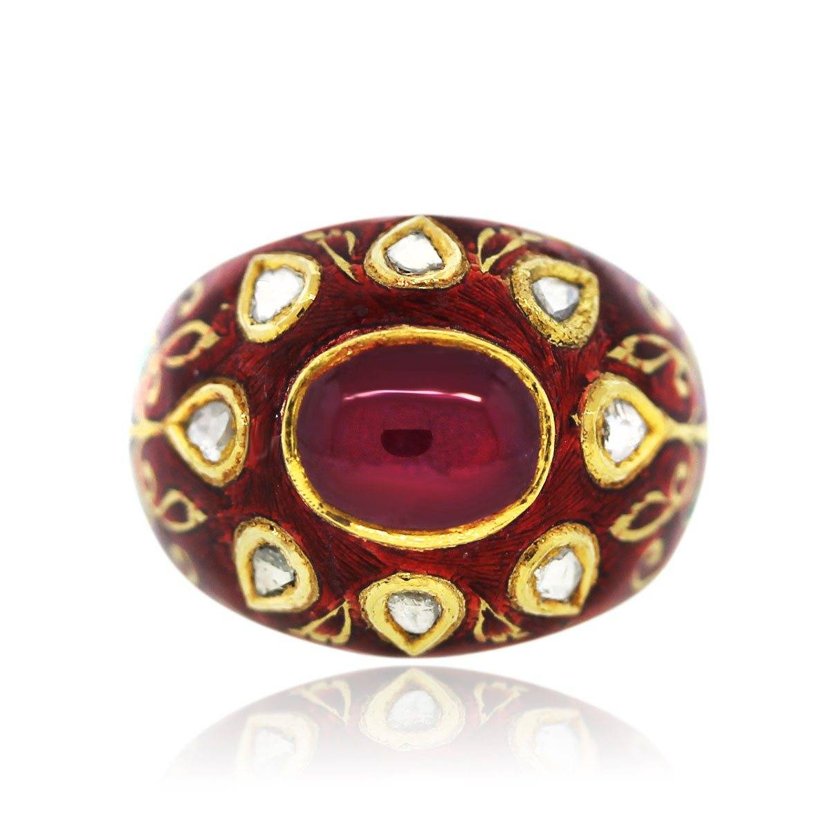 Red enamel and ruby ring