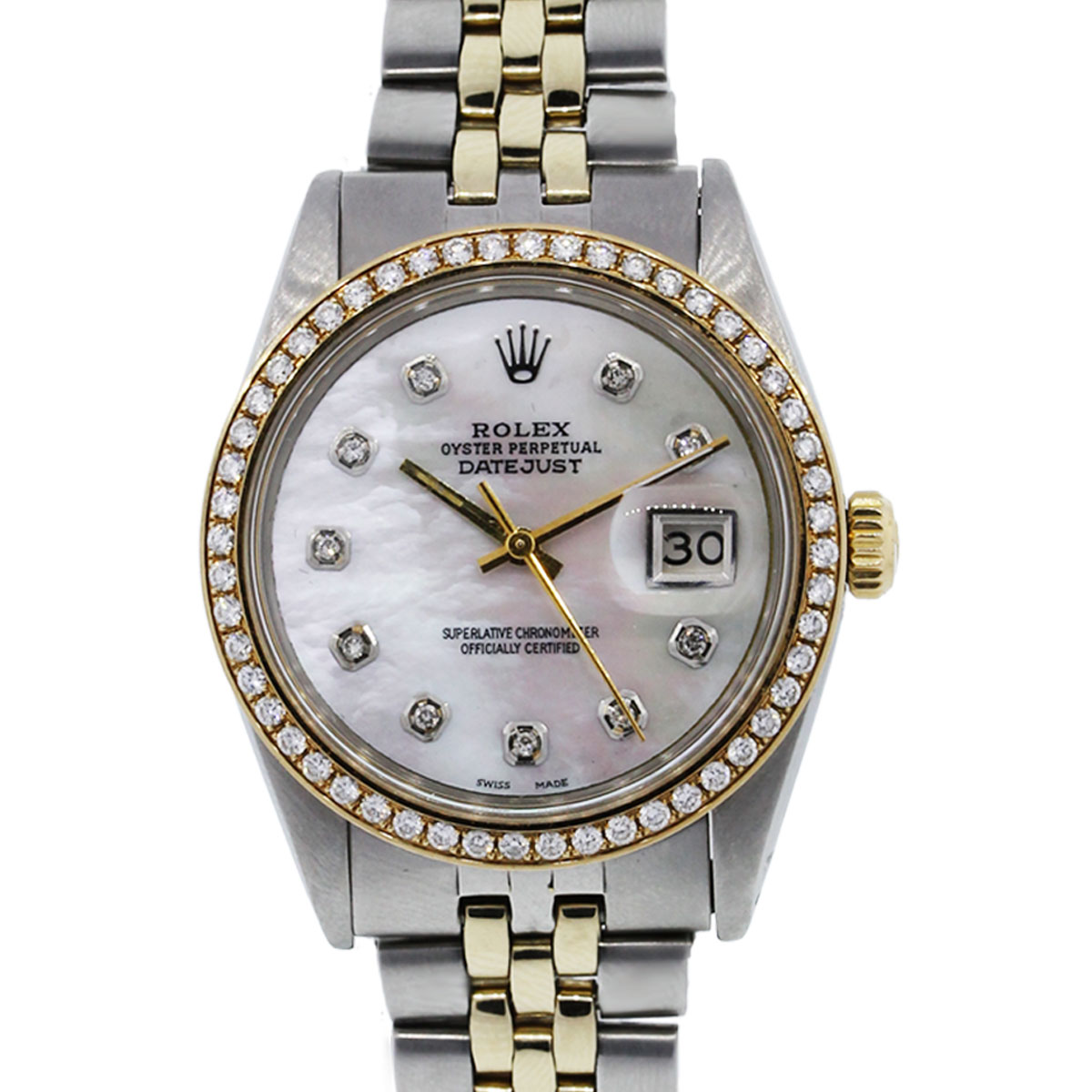 You are viewing this Rolex Datejust 16013 Two Tone Mother of Pearl Dial Diamond Bezel Watch!