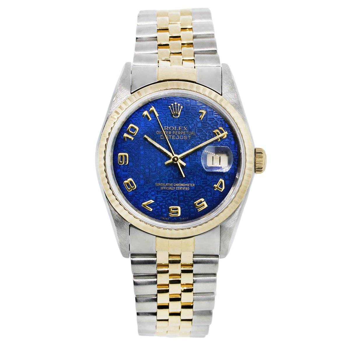 Rolex datejust 16233 two tone blue dial jubilee watch boca raton for Jubilee watch