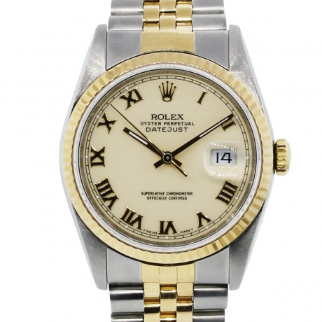Rolex Datejust 16233 Two Tone Cream Roman Dial Watch
