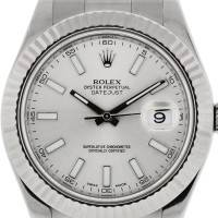 Rolex Datejust II 116334 Silver Stick Dial Stainless Steel Watch