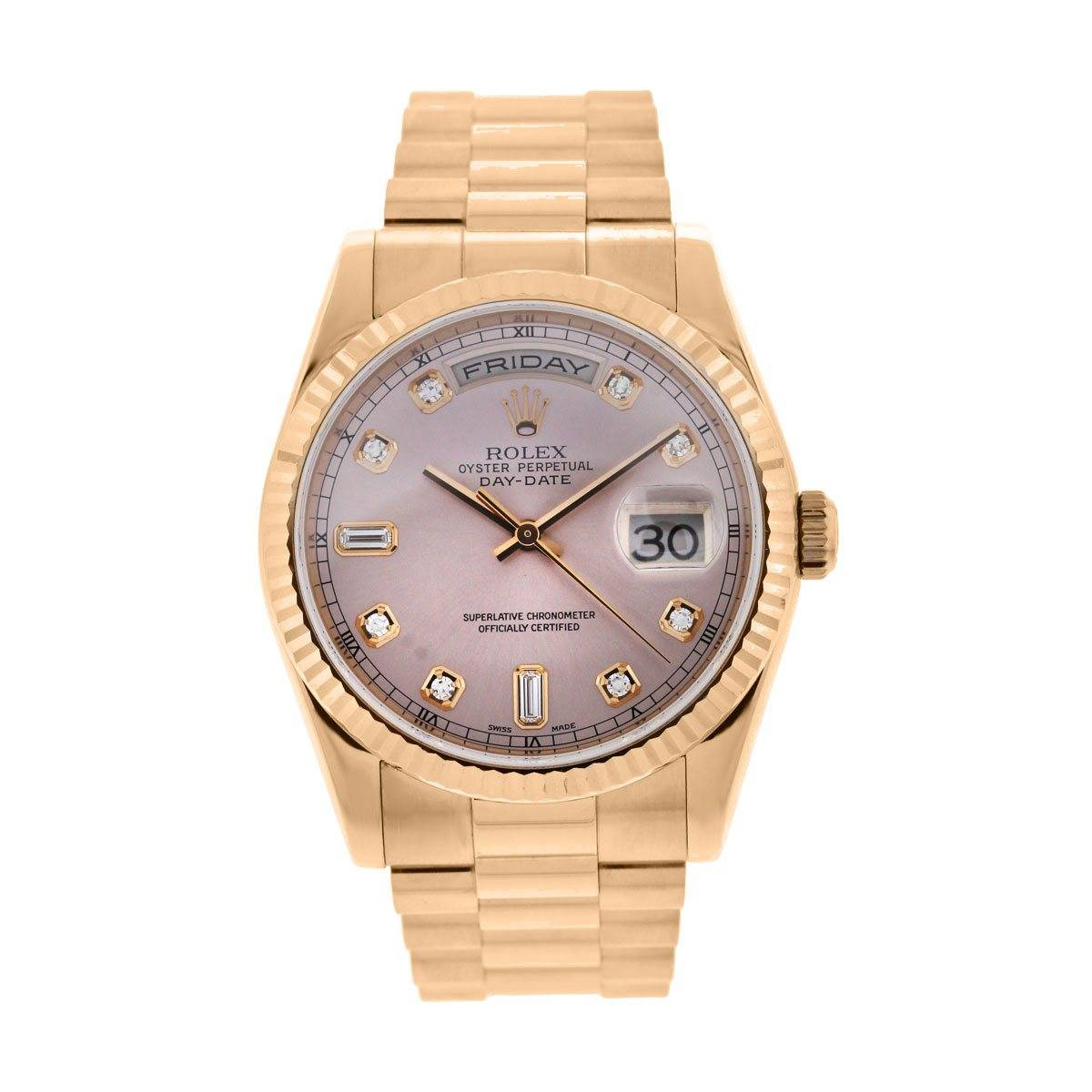 Rolex 118235 Day Date Presidental Rose Gold Pink Diamond Dial Watch