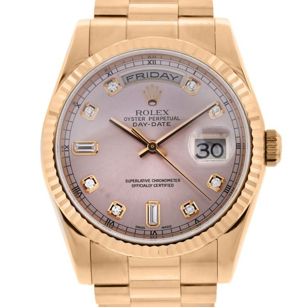 You are viewing this Rolex 118235 Day Date Presidental Rose Gold Pink Diamond Dial Watch!