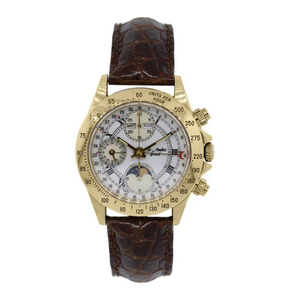 St Andre Graal Calander 18k Yellow Gold on Leather Watch
