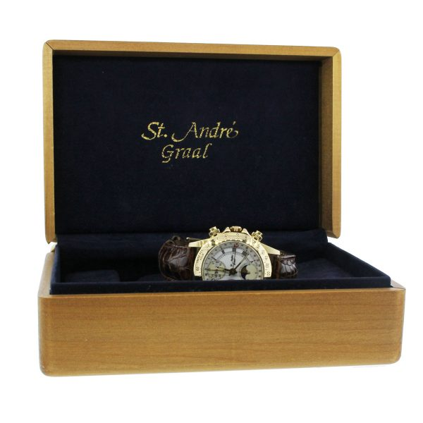 St Andre Graal Day Date Moon Phase 18k Yellow Gold on Leather Watch Box