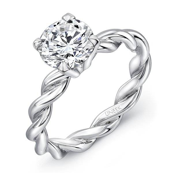 Uneek twisted band engagement ring