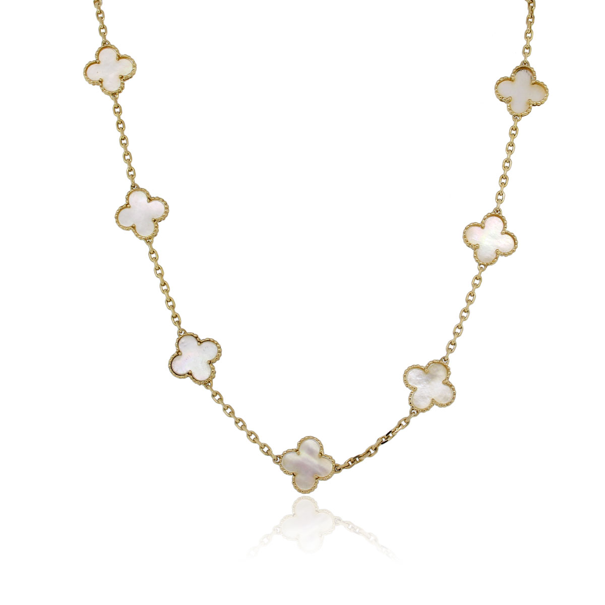 You are viewing this Van Cleef & Arpels Yellow Gold 10 Motif Alhambra Necklace!