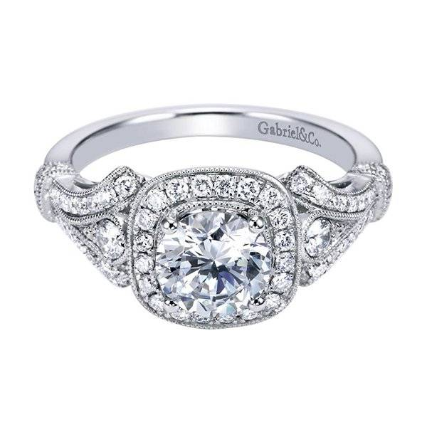Victorian Style Halo engagement ring under 4000