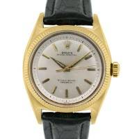 Rolex Oyster Perpetual 6502 18k Yellow Gold On Leather Band Watch