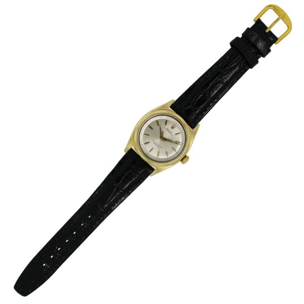 Rolex Oyster Perpetual 18k Yellow Gold On Leather Band Watch