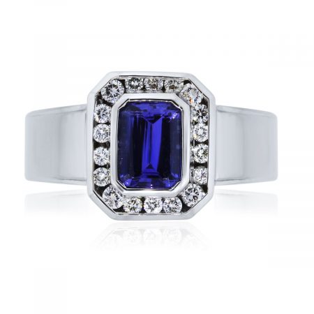 You are viewing this 18k White Gold 1.75ct Emerald Cut Tanzanite Diamond Ring!