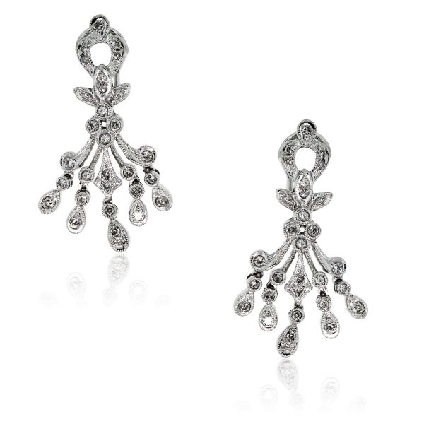 You are viewing these 18k White Gold Diamond Chandelier Omega Back Earrings!