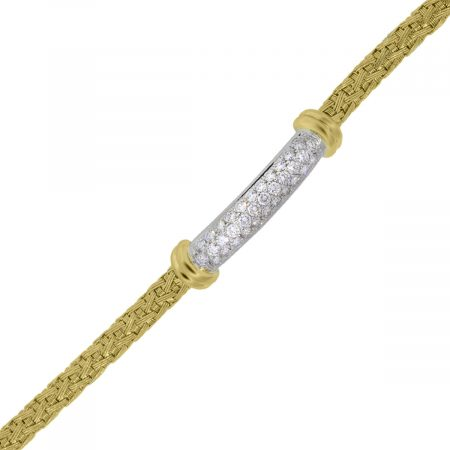 You are viewing this Roberto Coin 18k Yellow Gold Diamond Woven Bangle Bracelet!