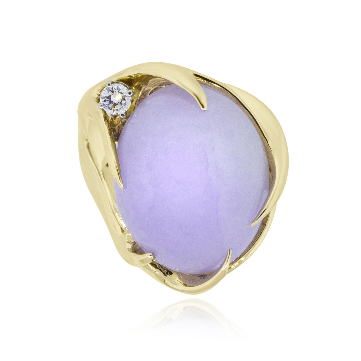 You are viewing this 14k Yellow Gold Oval Cabochon Lavender Jade and Diamond Ring!