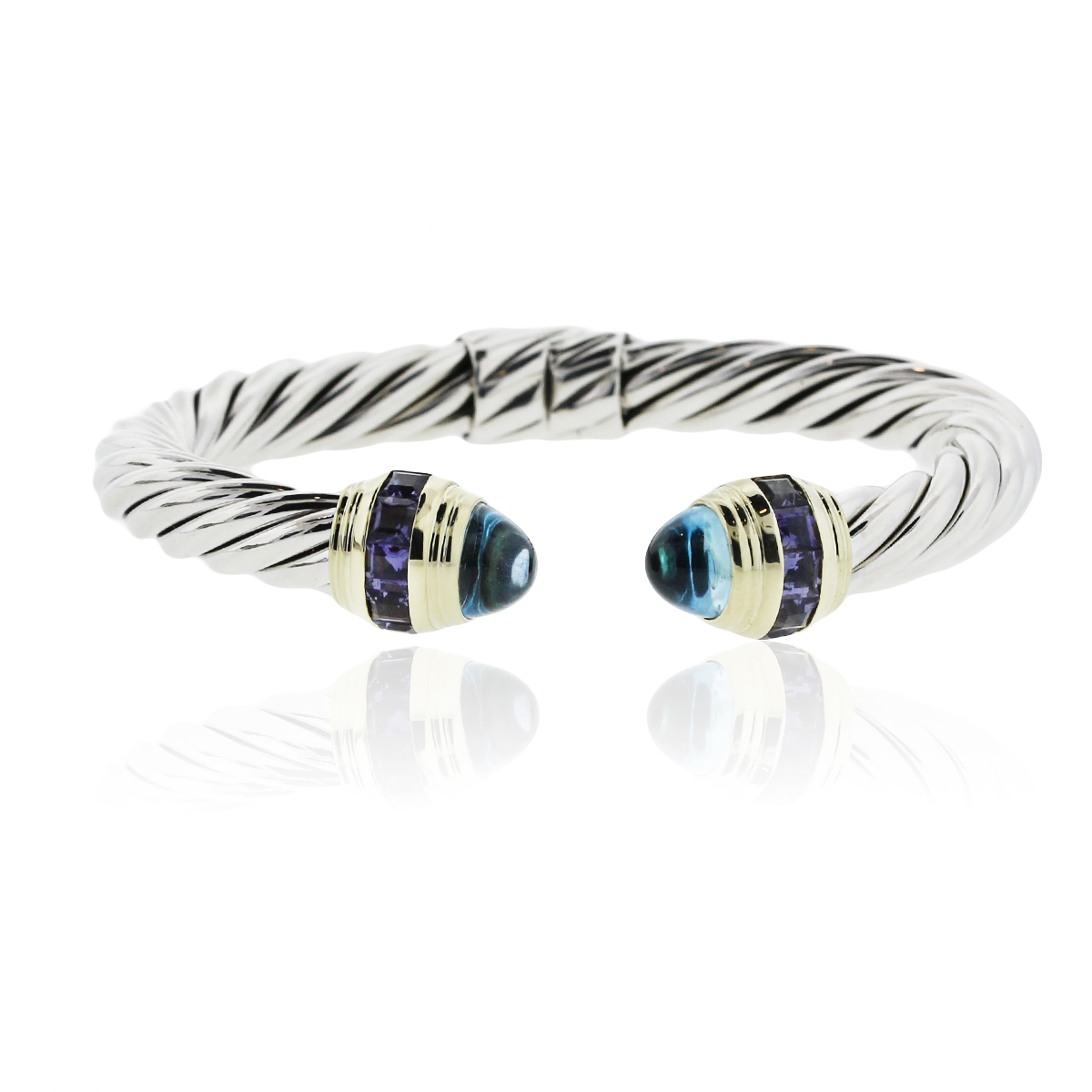 David yurman cable blue topaz iolite bangle bracelet for David yurman inspired bracelet cable