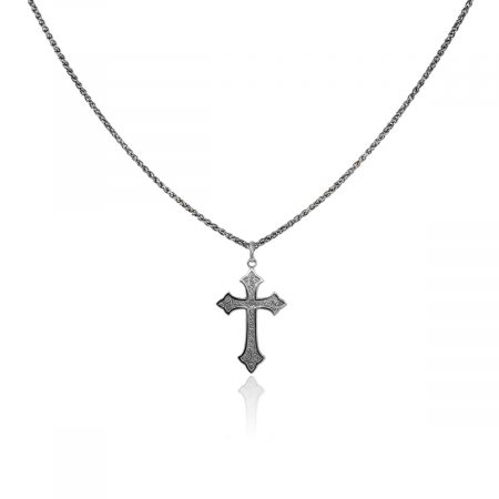 You are viewing this 14k White Gold Cross Pendant and Necklace!