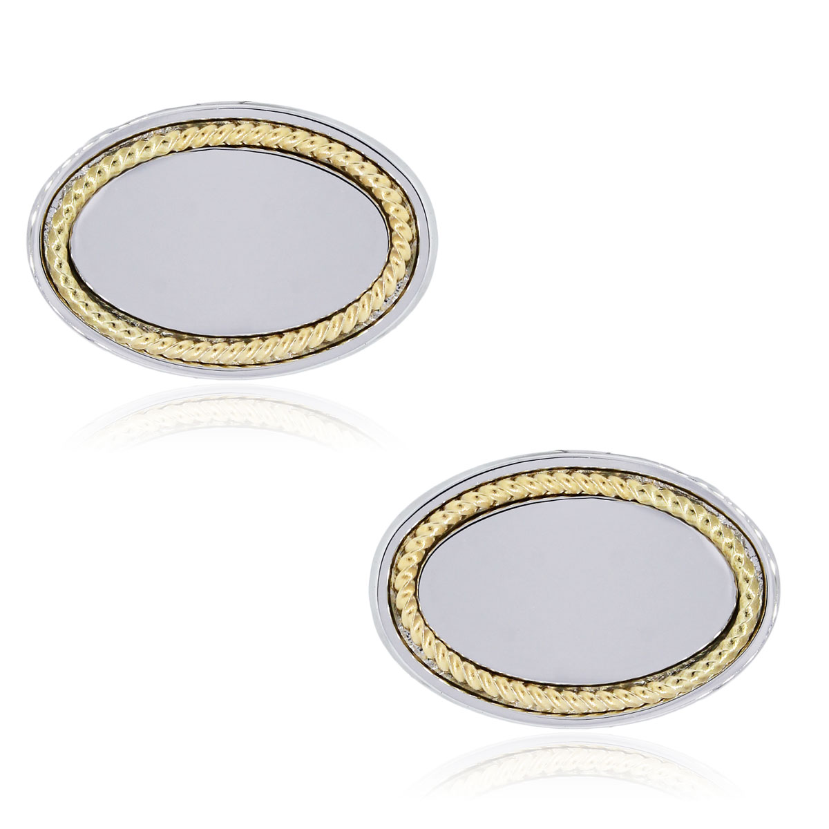 You are viewing these 14k Yellow Gold and Sterling Silver Oval Cuff Links!