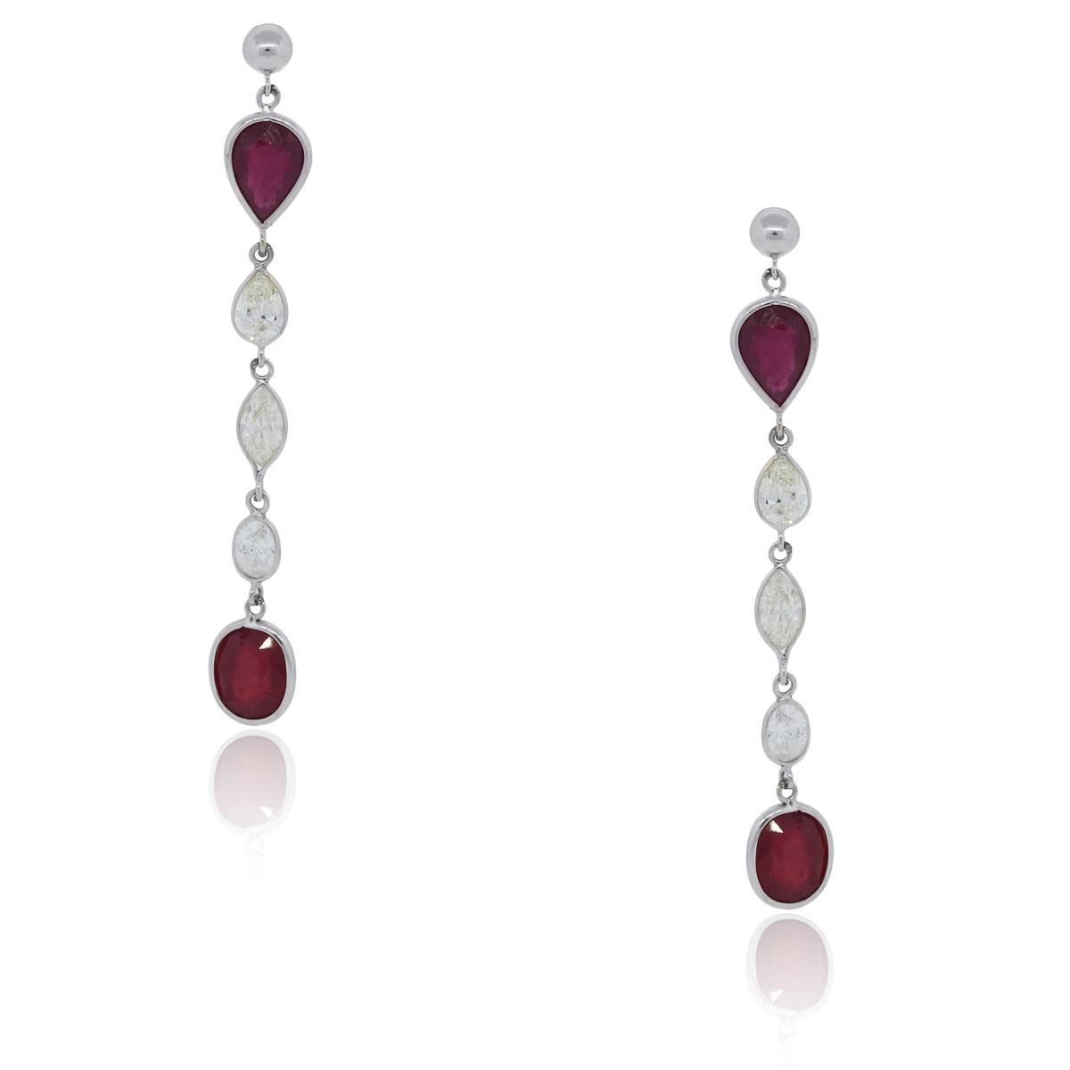 You are viewing these 14k White Gold 3ctw Diamond and 3.6ctw Ruby Drop Dangle Earrings!