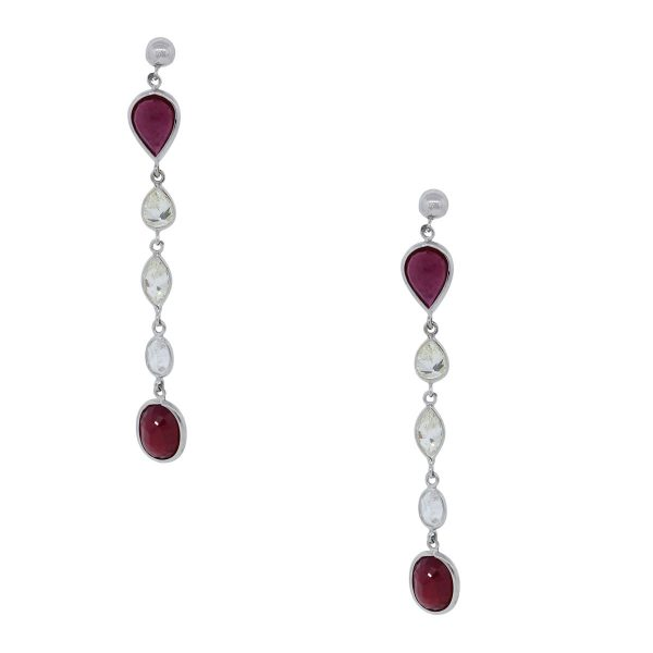 White Gold 3ctw Diamond and 3.6ctw Ruby Drop Dangle Earrings