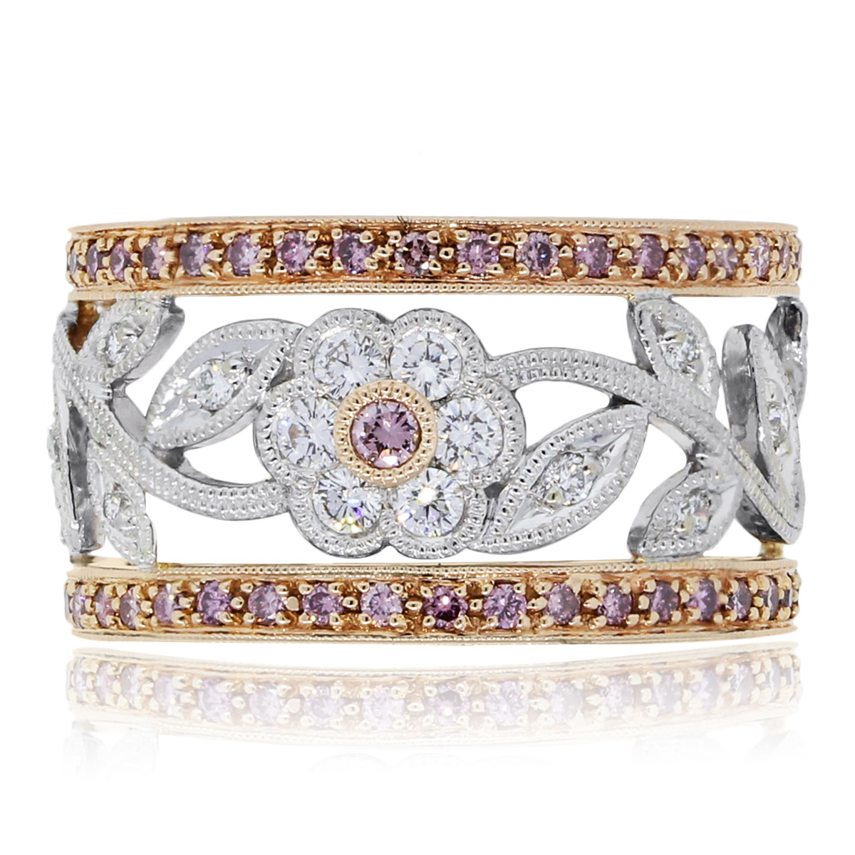 You are viewing this Simon G 18k Rose White Gold 0.88ctw Pink White Diamond Flower Ring!