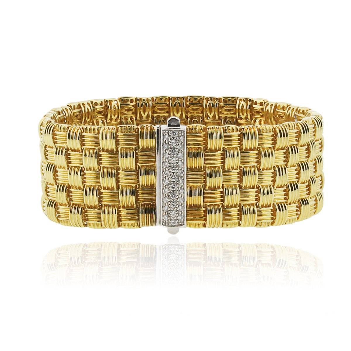 Roberto Coin Appassionata 18K Yellow Gold 5 Row Diamond Bracelet