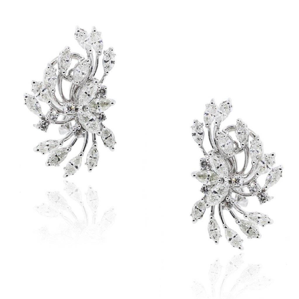 18K WHITE GOLD 3.5CTW DIAMOND CLUSTER EARRINGS