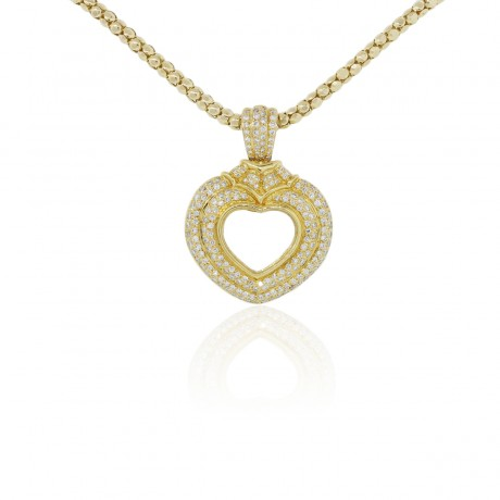 18K Yellow Gold Heart Pendant on 14K Chain Necklace