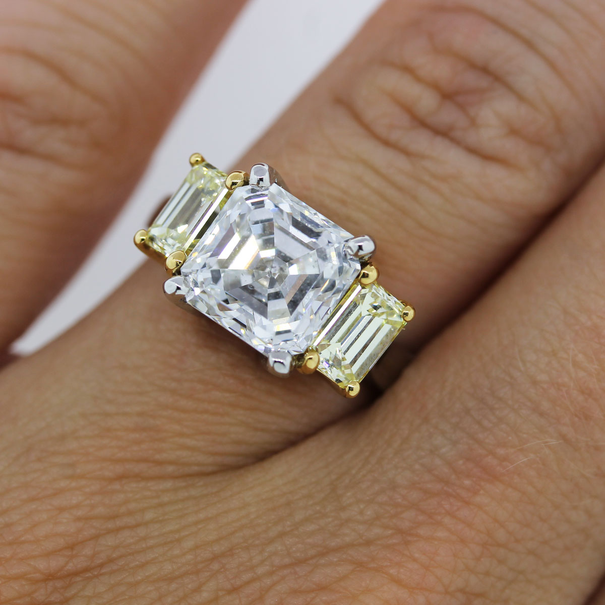 Platinum and 18k Yellow Gold 3.18ct Asscher Cut Three Stone Diamond Ring