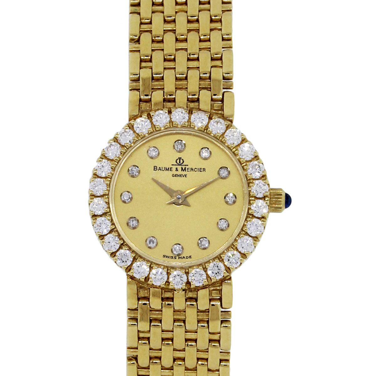 You are viewing this Baume & Mercier 18k Yellow Gold Diamond Bezel Watch!