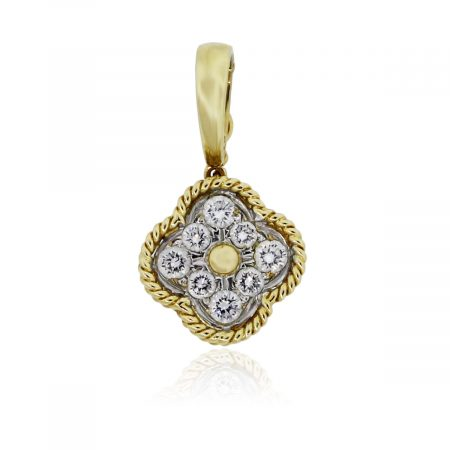 You are viewing this 18k Yellow Gold .40ctw Diamond Clover Pendant!