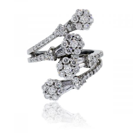 You are viewing this 18k White Gold 1.7ctw Diamond Flower Ring!