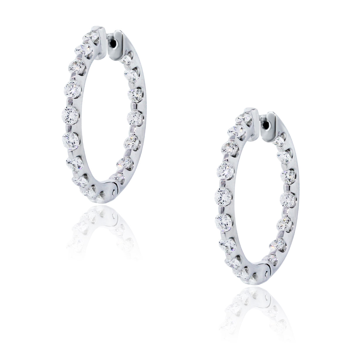 You are viewing these 14k White Gold Inside Out 2.7ctw Diamond Hoop Earrings!