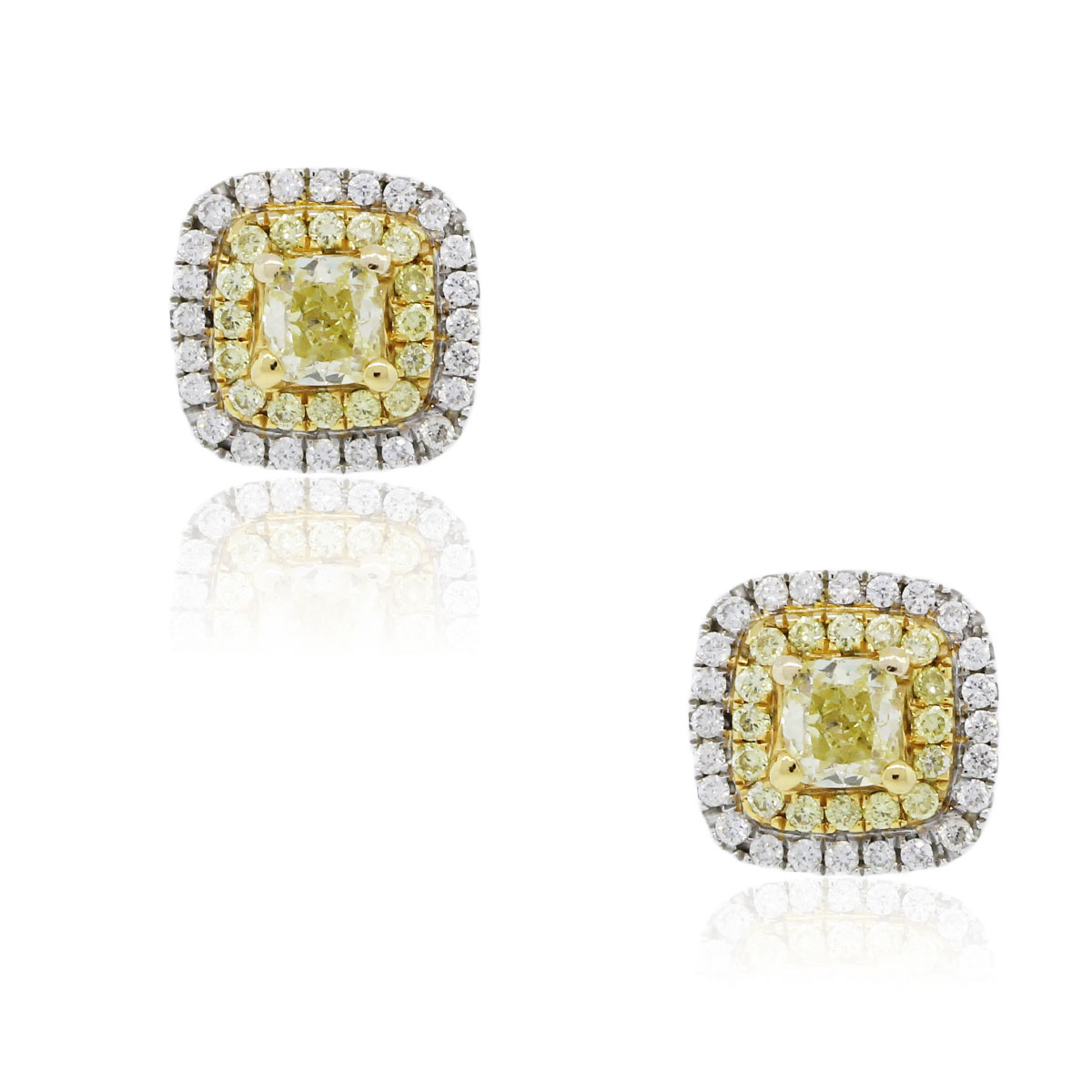You are viewing these 14k Two Tone Fancy Intense Yellow Diamond Halo Earrings!